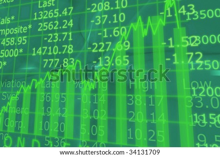 3d Render Stock Market Graph With Going Up Arrow - stock photo