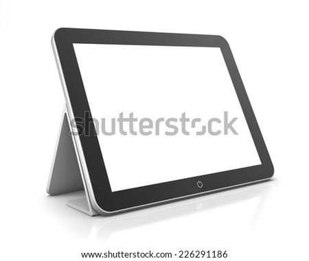 3d render. Tablet computer isolated on white - stock photo