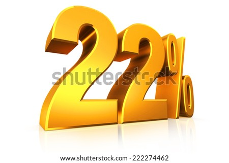 3D render text in 22 percent in gold on white background with reflection - stock photo