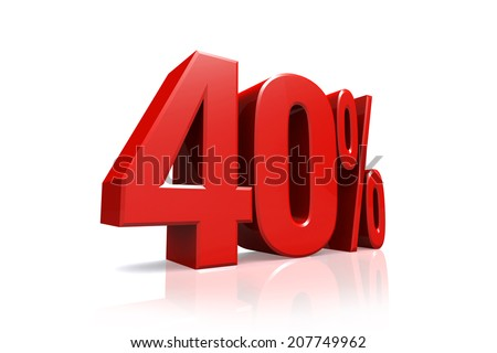 3D render text in 40 percent in red on white background with reflection - stock photo