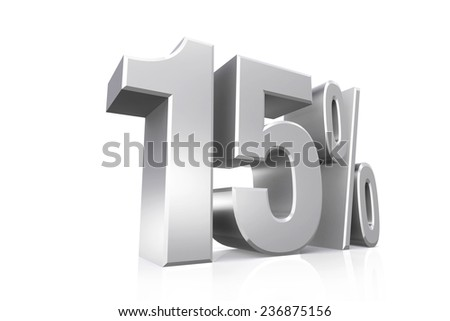 3D render text in 15 percent in silver on white background with reflection. - stock photo