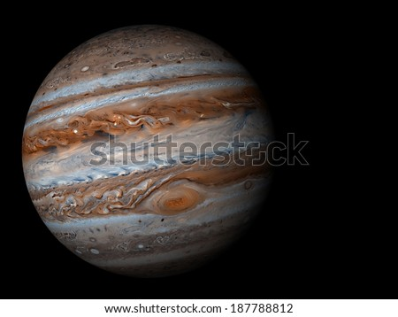 3D render the planet Jupiter on a black background, high resolution Elements of this image furnished by NASA - stock photo