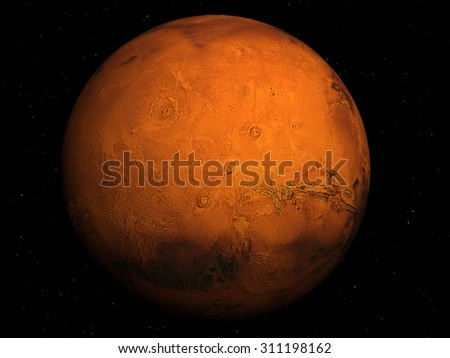 3D render the planet Mars with stars, high resolution. Elements of this image furnished by NASA - stock photo