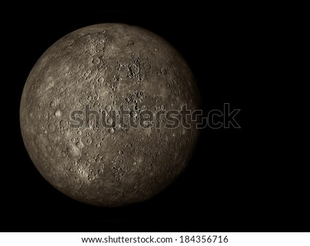 3D render the planet Mercury on a black background, high resolution - stock photo