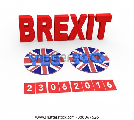 3d render the word Brexit and the two options to vote of the referendum of the permanence of United Kingdom in the European Union on a white background.