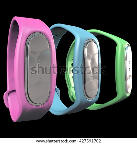 3d render three color blue, green, pink fitness trackers on black background