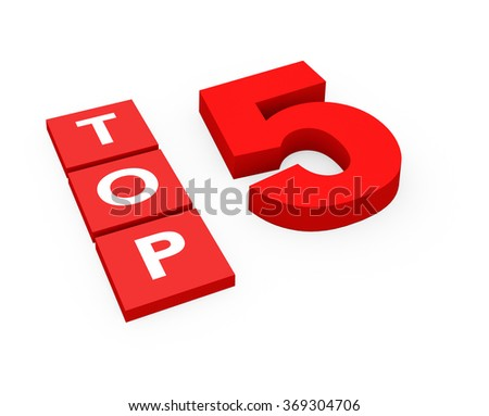 3d render Top 5 on a white background.  - stock photo