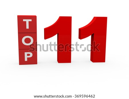 3d render Top 11 on a white background.  - stock photo