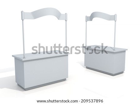 3D render trade stand, kiosk, booth in isolated background with work paths, clipping paths included - stock photo