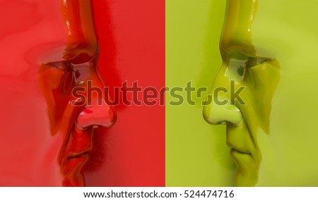 3d render: Two Man Heads Against Each Other, Arguing and Threatening, Concept of Business Situation, Two Businessman Fighting, Debate Opponents, Conflict of Interest