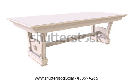 3d render white dining table on a white background