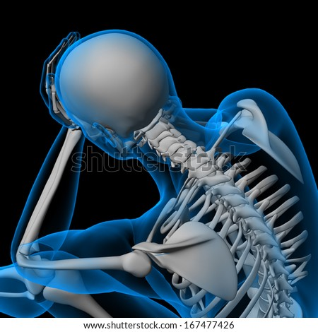 3d render white skeleton of a sitting - side view - stock photo
