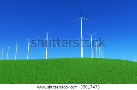 3D render - wind turbines power plant on green meadow; with depth of field effect (lens blur; DoF) - stock photo