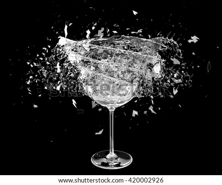 3d render wine pouring in breaking glass - stock photo