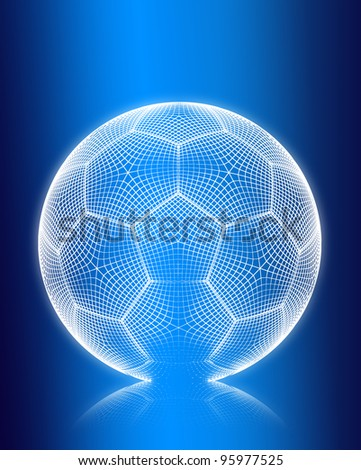 3d render wireframe football on blue background. - stock photo