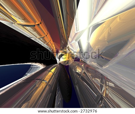 3d render with chrome pathways - stock photo