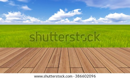 3d render wood plank floor on natural green grass field under blue sky background   - stock photo