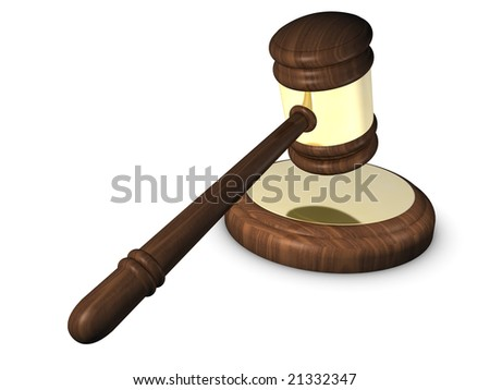 3D Render. Wooden and golden court gavel isolated on white background. - stock photo