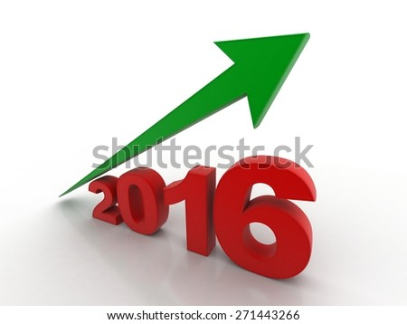 3d render year 2016 success concept with a growing red arrow on a white background - stock photo