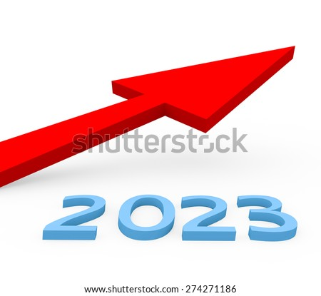3d render year 2023 success concept with a growing red arrow on a white background.  - stock photo
