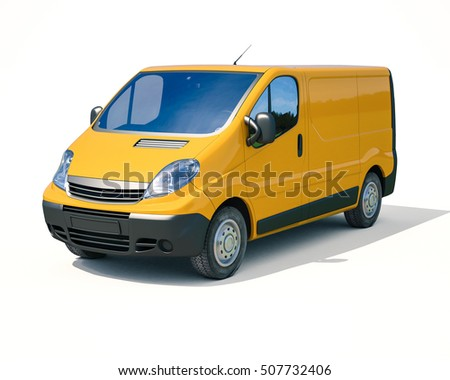3d render: Yellow Delivery Van Icon