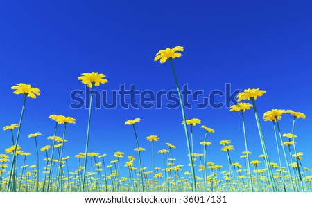 3D render - yellow flowers with view form below - stock photo