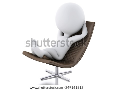 3d rendere image. White people relax  on a chair. Isolated white background - stock photo