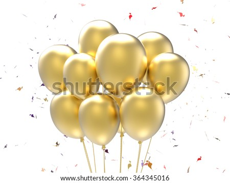 3d rendered a bunch of balloons with confetti background