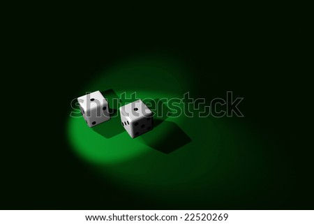 "3D Rendered: A pair of dice that shows ""snake eyes"", with dual spotlights."
