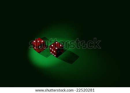 3D Rendered: A pair of translucent red dice that shows a winning roll, with dual spotlights.