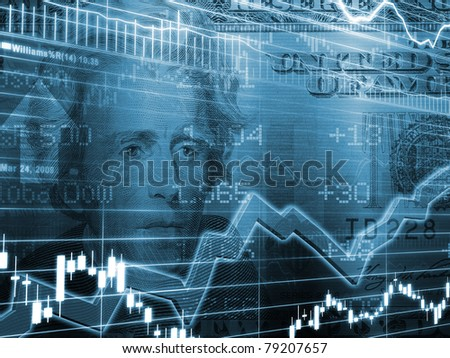 3D Rendered Abstract Background of one twenty dollar bill with stock market chart in blue color - stock photo