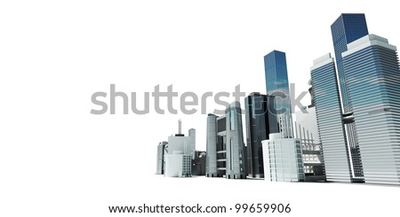 3d rendered abstract illustration of a city skyline - stock photo