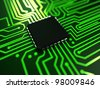3d rendered abstract illustration of a cpu - stock photo