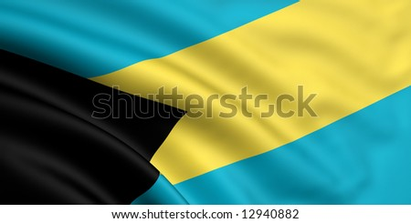 3d rendered and waving flag of bahamas - stock photo