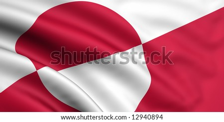 3d rendered and waving flag of greenland - stock photo