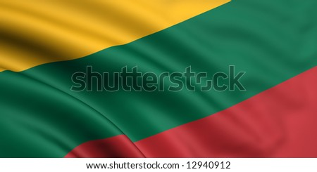 3d rendered and waving flag of lithuania - stock photo