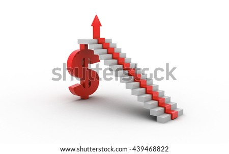 3D rendered arrow diagram moving up over dollar - stock photo