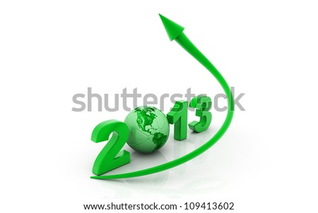3d rendered  arrow diagram moving  up over 2013 sign
