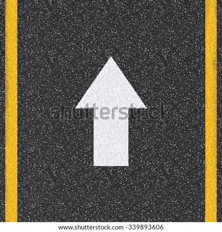 3d rendered asphalt road top view with arrow sign  - stock photo