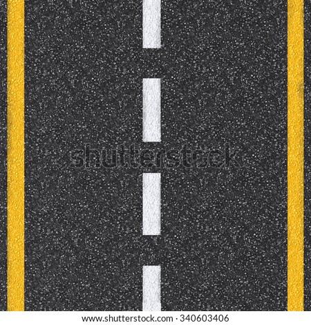 3d rendered asphalt road top view with dashed line - stock photo