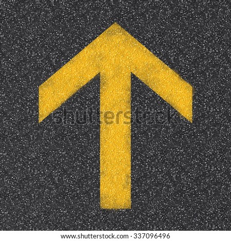 3d rendered asphalt road top view with yellow arrow sign  - stock photo