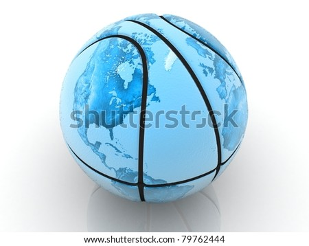 3d rendered basket ball textured the world map - stock photo