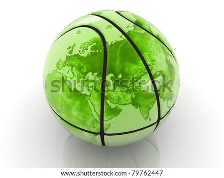 3d rendered basket ball textured the world map