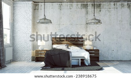 3D Rendered Bedroom In Industrial Style Part 67