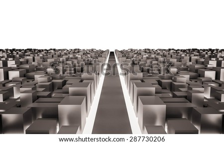 3d rendered, big city with main road and white background - stock photo
