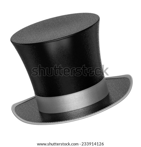 3D rendered black decoration top hats with shiny metallic flakes style surface - isolated on white background - stock photo