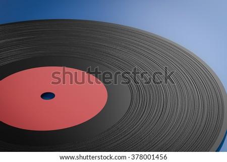 3d rendered black vinyl record  - stock photo