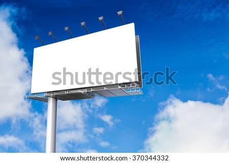 3d rendered blank billboard - stock photo