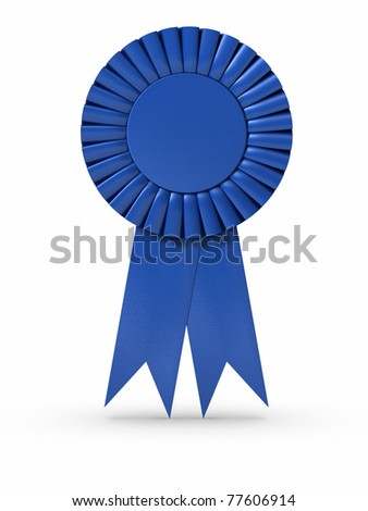 3D rendered Blue ribbon/Award. Clipping path included. - stock photo