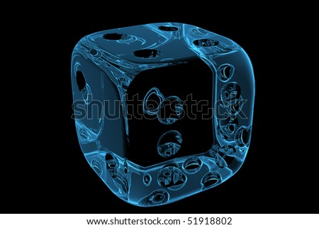 3D rendered blue xray transparent casino dice